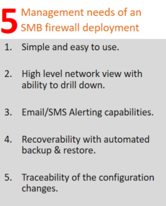 Firewall management needs of an SMB