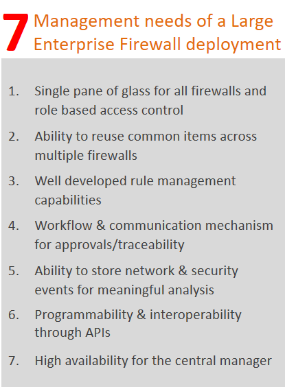 Firewall management needs of a Large Enterprise