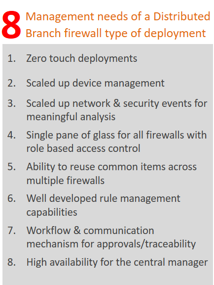 Firewall management needs of a Distributed Branch deployment